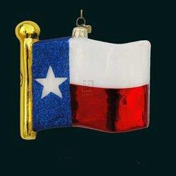 Kurt Adler Noble Gems Texas State Flag Glass Christmas Ornament