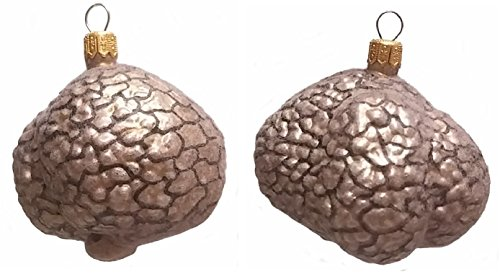 Fuzzy White Truffle Food Polish Mouth Blown Glass Christmas Ornament Set of 2