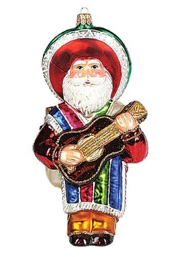 Mexican Santa Claus Polish Mouth Blown Glass Christmas Ornament