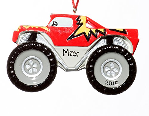 Christmas Holiday Monster Truck Ornament-Free Name Personalized-Shipped In One Day