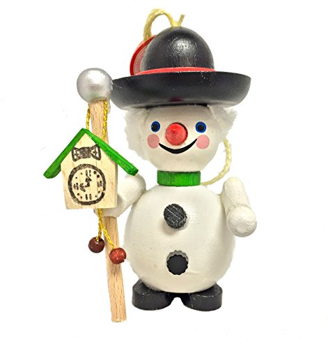 Steinbach Black Forest Snowman with Clock German Wooden Christmas Ornament