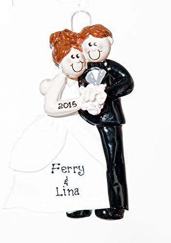 Personalized Christmas Ornament – Wedding Couple Brown – Free Names Added, Shipped Next Day