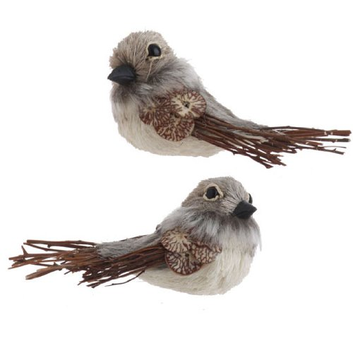 RAZ Imports – Brown and Gray Feathered Bird Ornaments