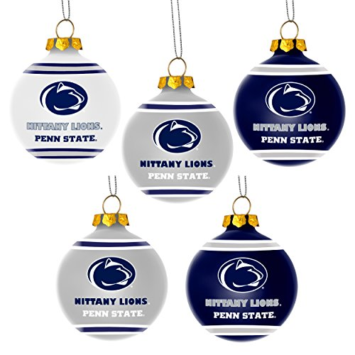 Penn State Nittany Lions Official NCAA 3 inch Plastic Christmas Ball Ornament 5 Pack by Forever Collectibles 360853