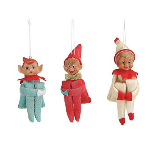 Classic Fabric Pixie Elf Ornament Set of 3 -Vintage Reproduction 5-1/2-in