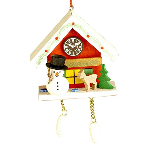 "10-0468 – Christian Ulbricht Ornament – Snowman with Red Cuckoo – 2.5″""H x 2.75″""W x 1.75″""D"