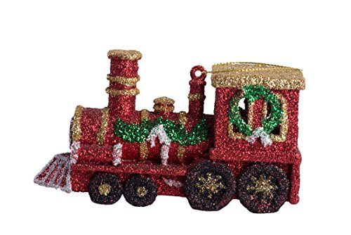 Christmas Red and Gold Train Engine Sparkled Hanging Tree Ornament