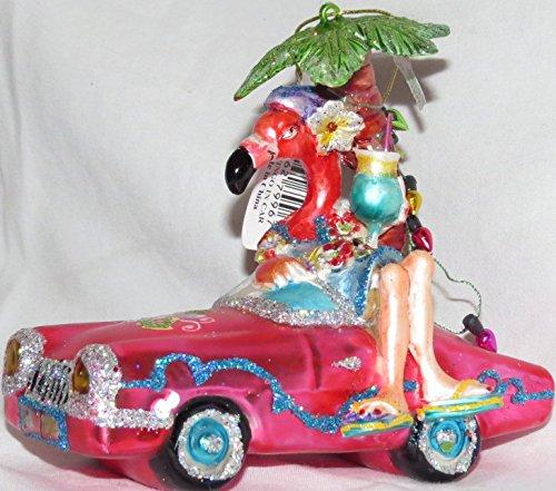 December Diamonds Blown Glass Ornament Flamingo in Car