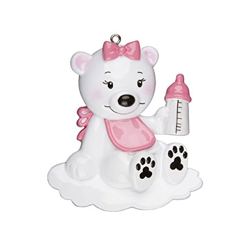 Baby Polar Bear with Bottle Ornament -Pink