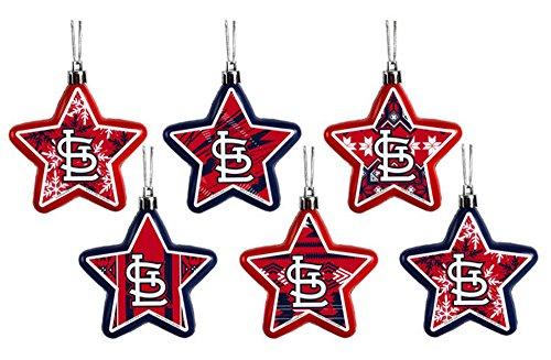 St. Louis Cardinals MLB Set of 6 Shatterproof Star Holiday Christmas Ornaments