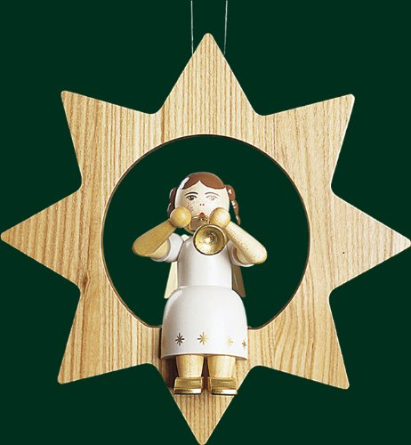 Hanging Christmas Tree Star Shaped Ornament Angel with Trumpet, 8.4 Inches