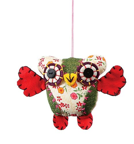 Creative Co-op Fabric Owl Ornament, Choice of Colors (green)