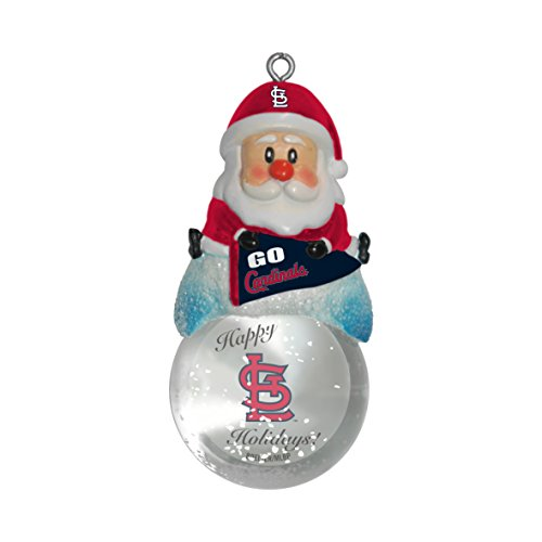 MLB St. Louis Cardinals Snow Globe Ornament, Silver, 1.5″