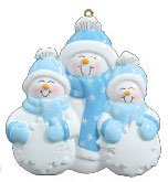 Family of 4 Snowman Personalized Christmas Tree Ornament