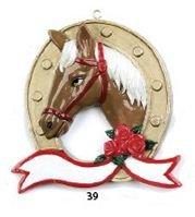 Horse Head in a Horseshoe Personalized Christmas Tree Ornament