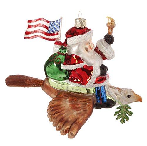 Raz US Marine Santa Hand Painted Glass Holiday Ornament