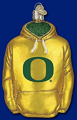 Old World Christmas University of Oregon Ducks College Hoodie Glass Ornament