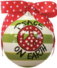 "Hand Painted ""Peace On Earth"" Striped Hanging Christmas Tree Ornament with Bow"