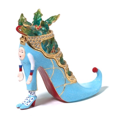 Patience Brewster Christmas Krinkles Blue Shoe Jeweled Box Retired – Ornaments 56-39375KRINK