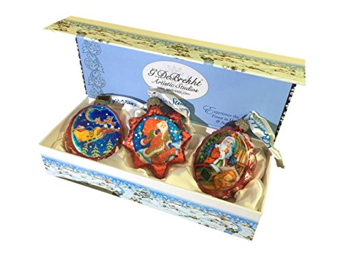 G. Debrekht Christmas Glass Ornaments Figurine (Set of 3)