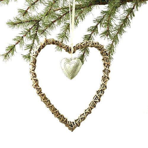 Sage & Co. XAO16852 11″ Rattan Silver Heart Ornament