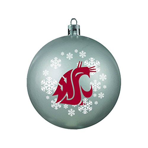 NCAA Washington State Cougars Shatterproof Ball Ornament, 3.125″, Red