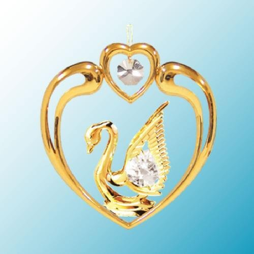 24k Gold Swan in Heart Ornament – Clear Swarovski Crystal