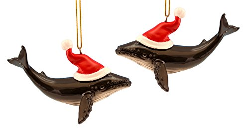 Humpback Whale with Santa Hat Christmas Holiday Ornaments Set of 2