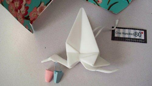 Origami White Baby's 1st Stork One Hundred 80 Degrees Orniment