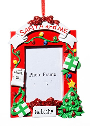 Picture Frame Christmas Santa and Me Photo Words Holiday Ornament-Free Name Personalized-Shipped In One Day