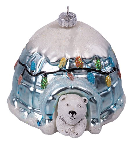 Krebs Igloo Polar Bear Glass Christmas Ornament with Multi Color Lights & Snow – 3.5″ Tall White, Blue, Silver