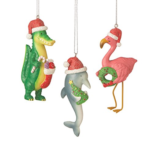 Dolphin, Pink Flamingo and Alligator Christmas Ornaments Set of 3
