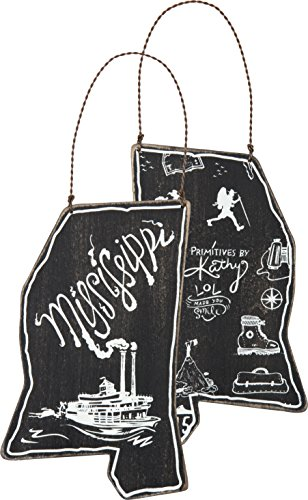 Mississippi Ornament Black White Chalkboard Look Wood