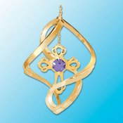 24K Gold Cross Spiral Ornament – Purple Swarovski Crystal
