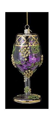 Kurt Adler 6″ Noble Gems Wine Glass W/glitter Ornament