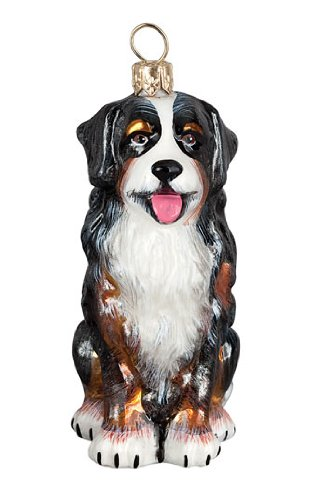 Bernese Mountain Dog Glass Christmas Ornament