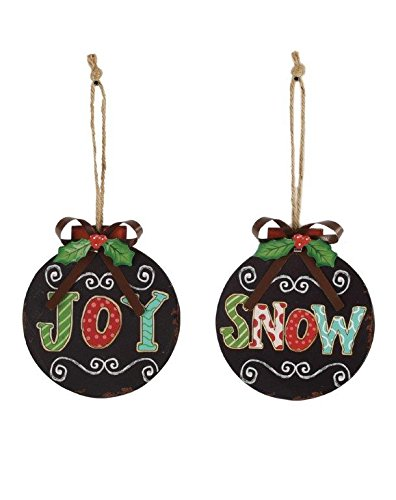 Blossom Bucket Snow/Joy Bulbs Ornaments Christmas Decor (Set of 2), 4-3/4″
