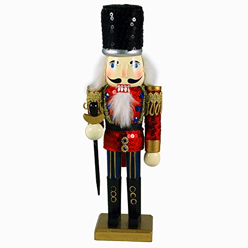 Red Sequined Nutcracker Soldier Figurine