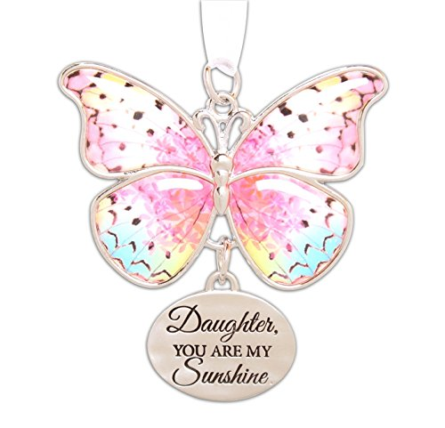 Ganz 2″ Beautiful Zinc Butterfly Ornament with Sentiment Featuring White Organza Ribbon for Hanging (Daughter)