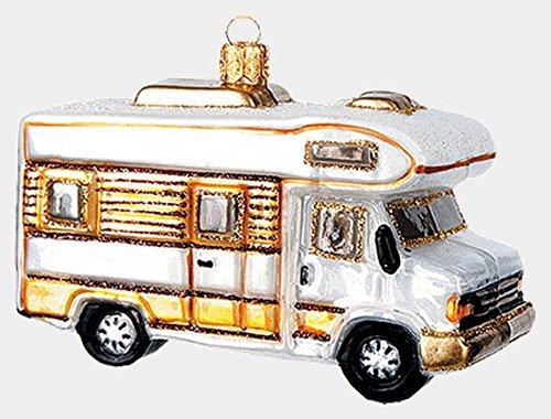 White Camper Van Car Polish Mouth Blown Glass Christmas Ornament