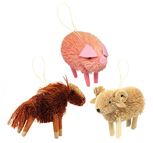 Martha Stewart Bristle Brush Farmyard Horse, Ram, and Pig Buri Animal Ornaments (Set of 3)