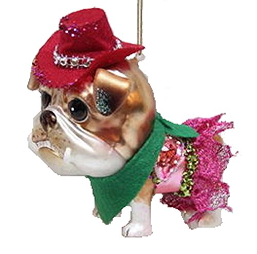 December Diamonds Blown Glass Ornament – Bulldog in pink skirt with red cowgirl hat