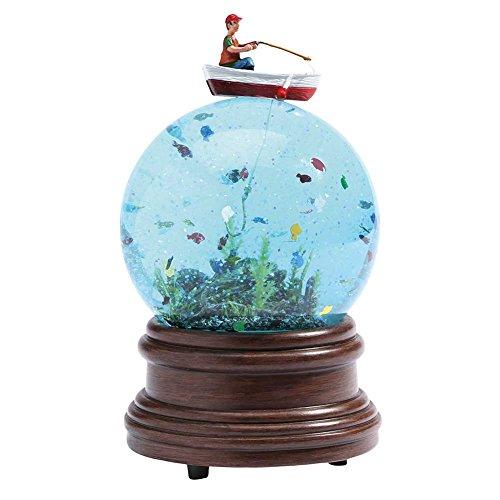 Funny Fisherman Glittering Glass Water Globe