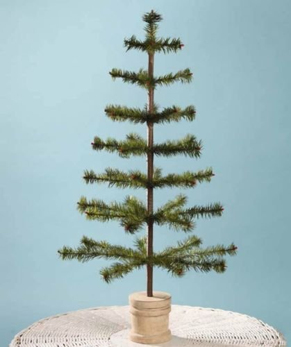 Bethany Lowe 30″ Olive Green Feather Christmas Tree, Spool Base