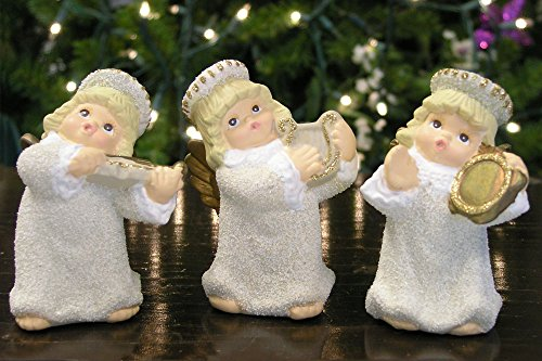 Angels Playing Musical Instruments Violin Harp & Tambourine Christmas Figurine Ornaments – Set of 3 – Hand Painted Glitter and Gold Ceramic 3.5 Inch High