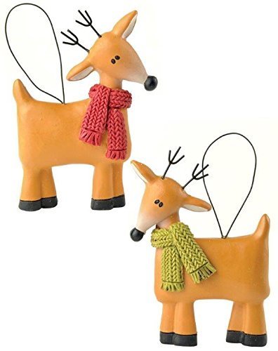 Blossom Bucket Reindeer with Scarves Ornaments Christmas Decor (Set of 2), 2-3/4″ High