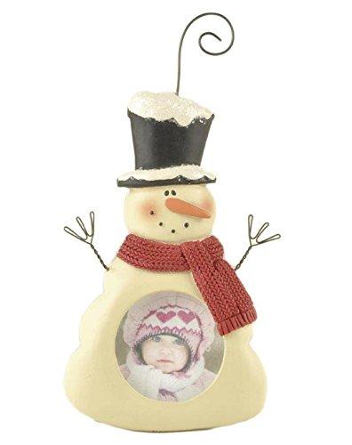 Blossom Bucket Snowman Picture Frame Ornament Christmas Decor, 5″ High