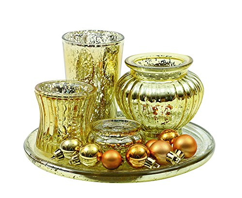 Creative Co-Op 8″ Round Mercury Glass Tray with 4 Vases/Votive Holders & 8 Ornaments, Gold