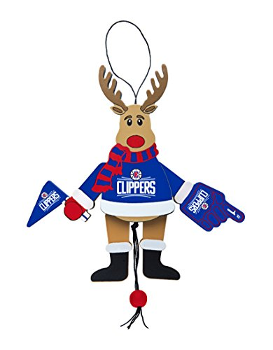 NBA Los Angeles Clippers Wooden Cheer Ornament, Brown, 5.25″