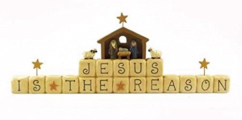 Christmas Block shelf-sitter spells out Jesus is the reason in primitive style, with whimsical nativity figurine top